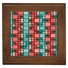Red And Green Squares Framed Tile