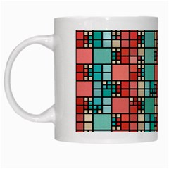 Red And Green Squares White Mug