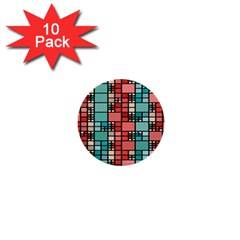 Red And Green Squares 1  Mini Button (10 Pack)