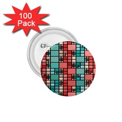 Red And Green Squares 1 75  Button (100 Pack)  by LalyLauraFLM