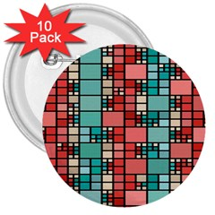 Red And Green Squares 3  Button (10 Pack)