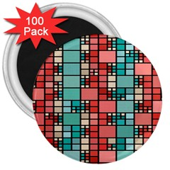 Red And Green Squares 3  Magnet (100 Pack)