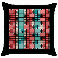 Red And Green Squares Throw Pillow Case (black)