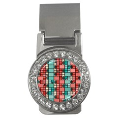 Red And Green Squares Money Clip (cz)