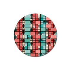 Red And Green Squares Magnet 3  (round) by LalyLauraFLM