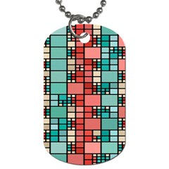 Red And Green Squares Dog Tag (two Sides)