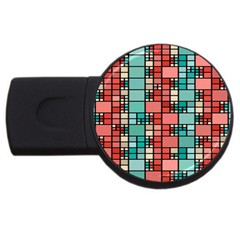Red And Green Squares Usb Flash Drive Round (2 Gb)