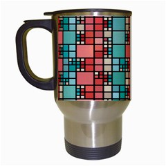 Red And Green Squares Travel Mug (white)