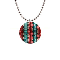Red And Green Squares 1  Button Necklace by LalyLauraFLM