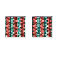 Red And Green Squares Cufflinks (square)