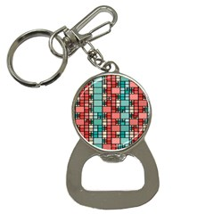 Red And Green Squares Bottle Opener Key Chain