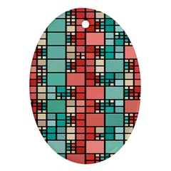 Red And Green Squares Oval Ornament (two Sides)