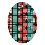 Red and green squares Oval Ornament (Two Sides) Back