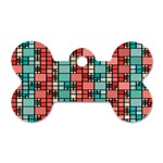 Red and green squares Dog Tag Bone (Two Sides) Front