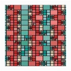 Red And Green Squares Glasses Cloth (medium, Two Sides)