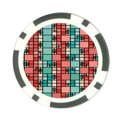 Red And Green Squares Poker Chip Card Guard