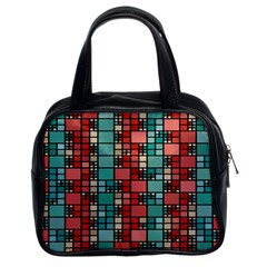 Red And Green Squares Classic Handbag (two Sides) by LalyLauraFLM