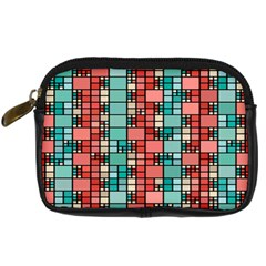 Red And Green Squares Digital Camera Leather Case