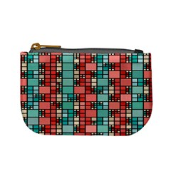 Red And Green Squares Mini Coin Purse