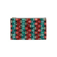 Red And Green Squares Cosmetic Bag (small) by LalyLauraFLM