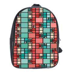 Red And Green Squares School Bag (large)