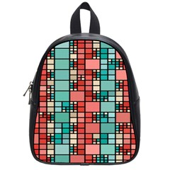 Red And Green Squares School Bag (small)