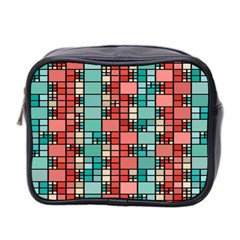 Red And Green Squares Mini Toiletries Bag (two Sides)