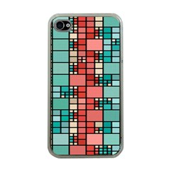 Red And Green Squares Apple Iphone 4 Case (clear)