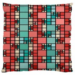 Red And Green Squares Large Cushion Case (two Sides)