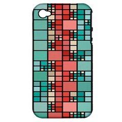 Red And Green Squares Apple Iphone 4/4s Hardshell Case (pc+silicone)