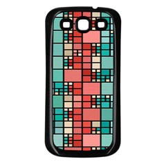 Red And Green Squares Samsung Galaxy S3 Back Case (black)