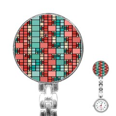Red And Green Squares Stainless Steel Nurses Watch