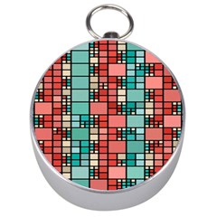 Red And Green Squares Silver Compass by LalyLauraFLM