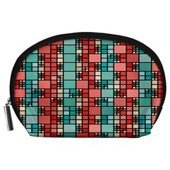 Red And Green Squares Accessory Pouch (large)