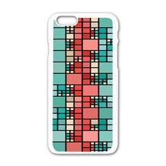 Red And Green Squares Apple Iphone 6 White Enamel Case