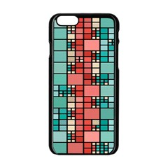 Red And Green Squares Apple Iphone 6 Black Enamel Case