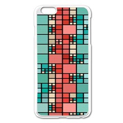 Red And Green Squares Apple Iphone 6 Plus Enamel White Case