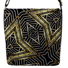 Geometric Tribal Golden Pattern Print Flap Closure Messenger Bag (small) by dflcprints