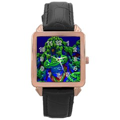 Abstract 1x Rose Gold Leather Watch  by icarusismartdesigns
