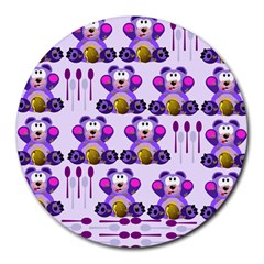 Fms Honey Bear With Spoons 8  Mouse Pad (round) by FunWithFibro