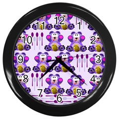 Fms Honey Bear With Spoons Wall Clock (black) by FunWithFibro