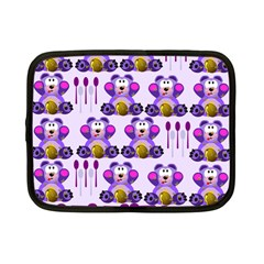 Fms Honey Bear With Spoons Netbook Sleeve (small) by FunWithFibro