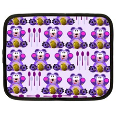 Fms Honey Bear With Spoons Netbook Sleeve (xl) by FunWithFibro