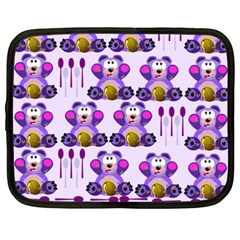 Fms Honey Bear With Spoons Netbook Sleeve (xxl) by FunWithFibro