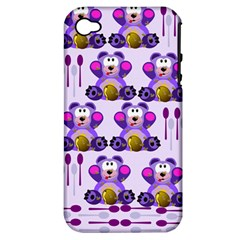 Fms Honey Bear With Spoons Apple Iphone 4/4s Hardshell Case (pc+silicone) by FunWithFibro