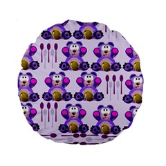 Fms Honey Bear With Spoons 15  Premium Round Cushion  by FunWithFibro