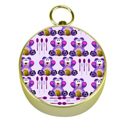 Fms Honey Bear With Spoons Gold Compass by FunWithFibro