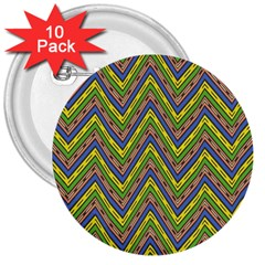 Zig Zag Pattern 3  Button (10 Pack) by LalyLauraFLM