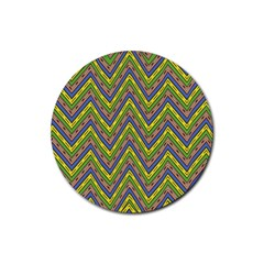 Zig Zag Pattern Rubber Coaster (round) by LalyLauraFLM