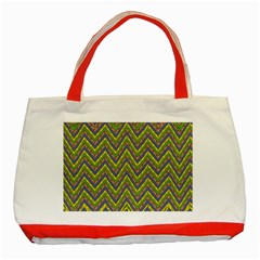 Zig Zag Pattern Classic Tote Bag (red)